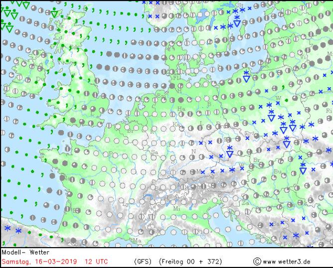 Prognoza opadów śniegu na 16 marca (model GFS/wetter3)