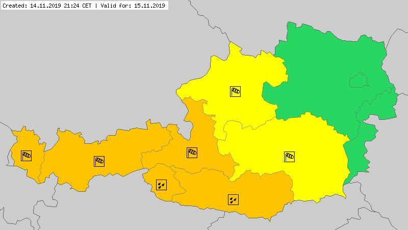 Ostrzeżenia meteorologiczne dla Austrii na piątek (meteoalarm.eu)