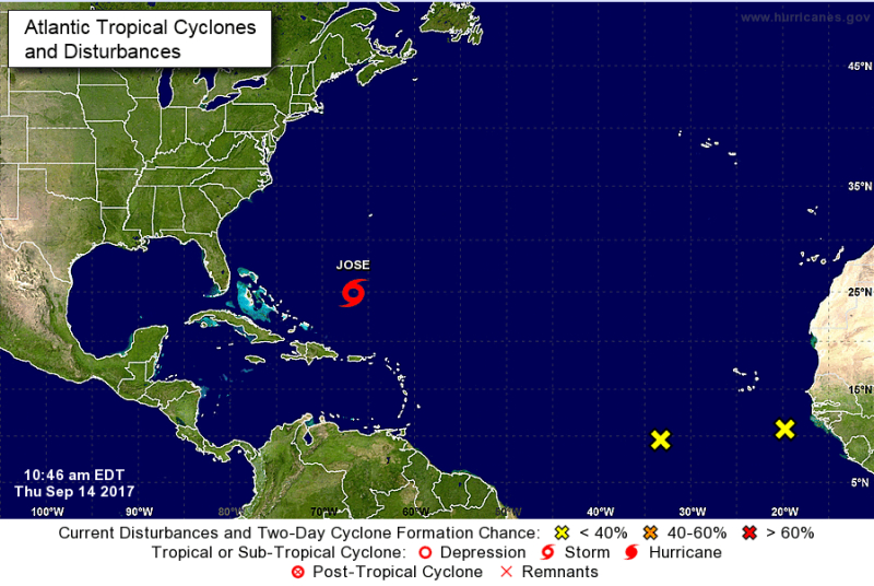 Położenie burzy tropikalnej Jose według NHC (stan na czwartkowe popołudnie polskiego czasu)
