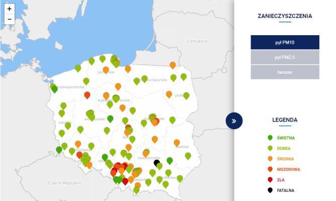 Stężenie pyłu PM10 w Polsce po godz. 20