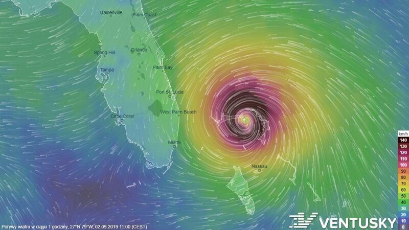 Zobacz prognozowaną ścieżkę przejścia huraganu Dorian