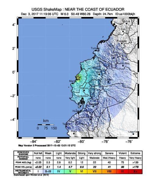 Intensywność trzęsienia ziemi w Ekwadorze (USGS)