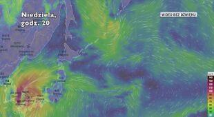 Prognozowana trasa tajfunu Tapa (Ventusky.com)